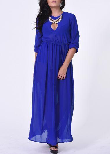 Pocket Design Half Sleeve Blue Maxi Dress on sale only US$25.01 now, buy cheap Pocket Design Half Sleeve Blue Maxi Dress at lulugal.com