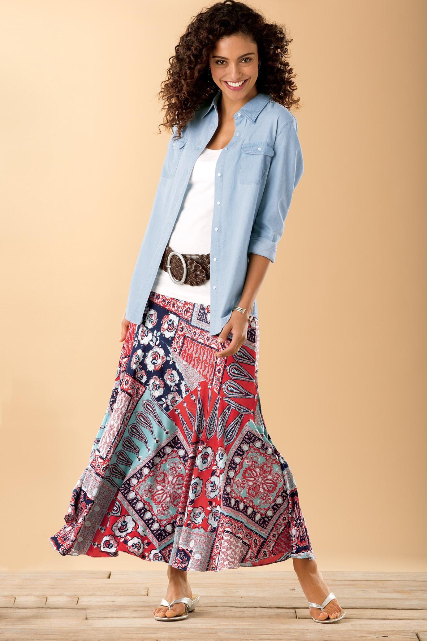 chambray shirt bandana print maxi skirt ch129