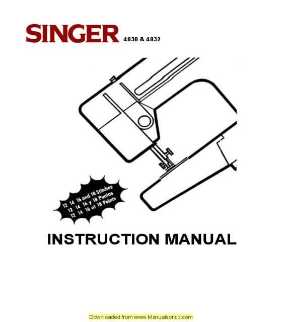 Singer 4830-4832 Sewing Machine Instruction Manual