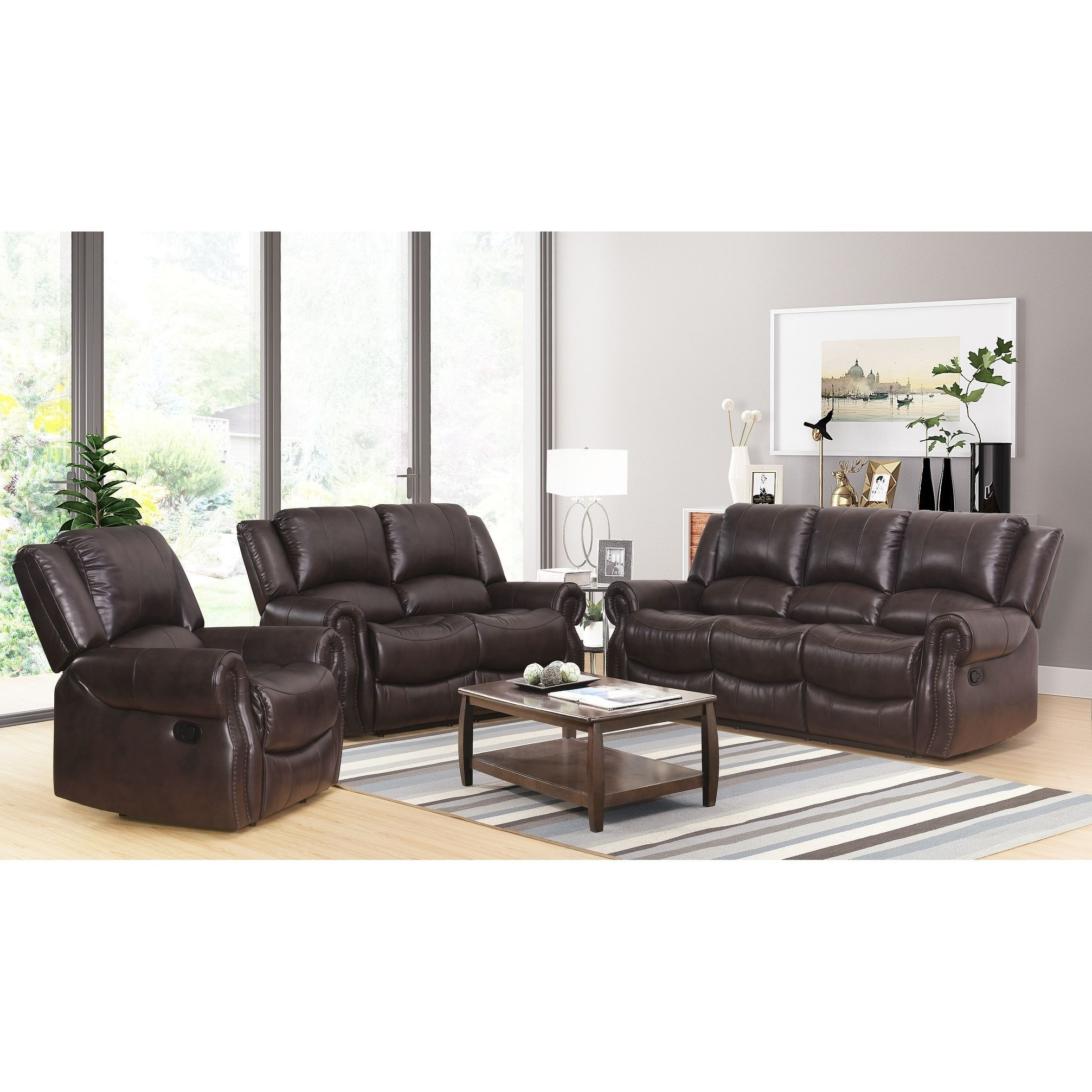 Best Abbyson Bradford Brown 3 Piece Faux Leather Living Room 400 x 300