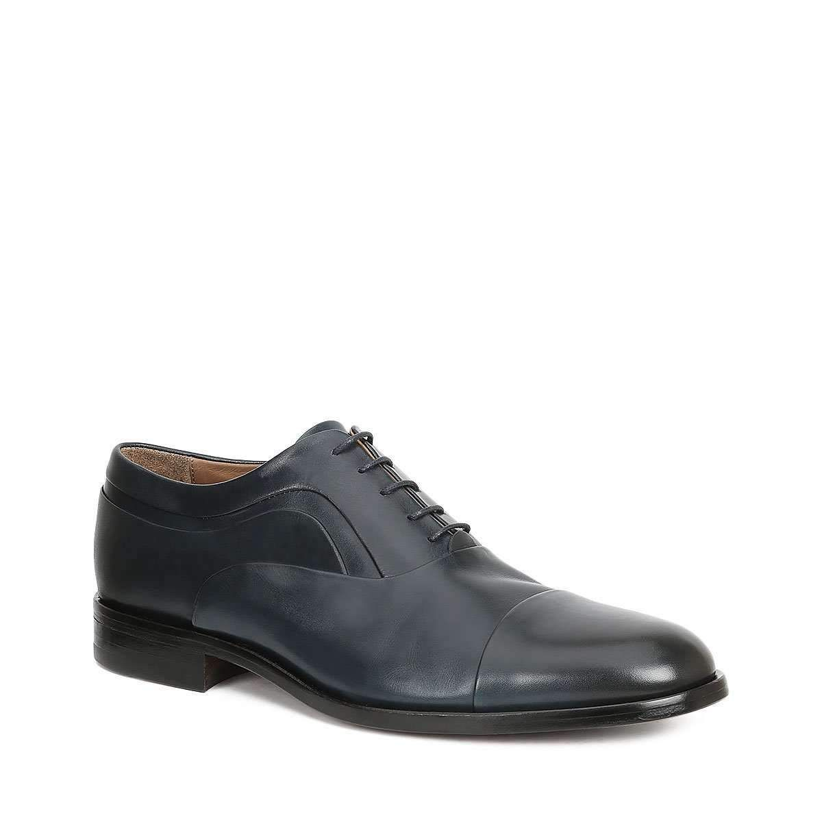 Bruno Magli Luxury Italian Handcrafted Sassiolo Mens Designer Shoes Navy Burnished Calfskin Oxfords (BM1046) (Special Price)