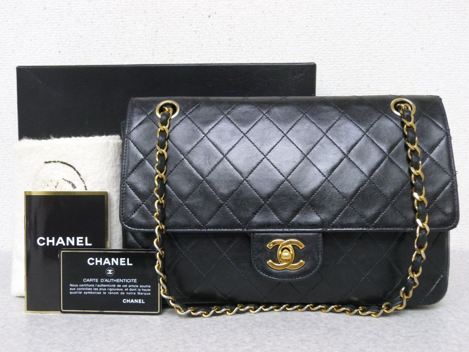 cf723796e808 r5059 Auth Vintage CHANEL Black Quilted Lambskin Double Flap Chain Shoulder  Bag