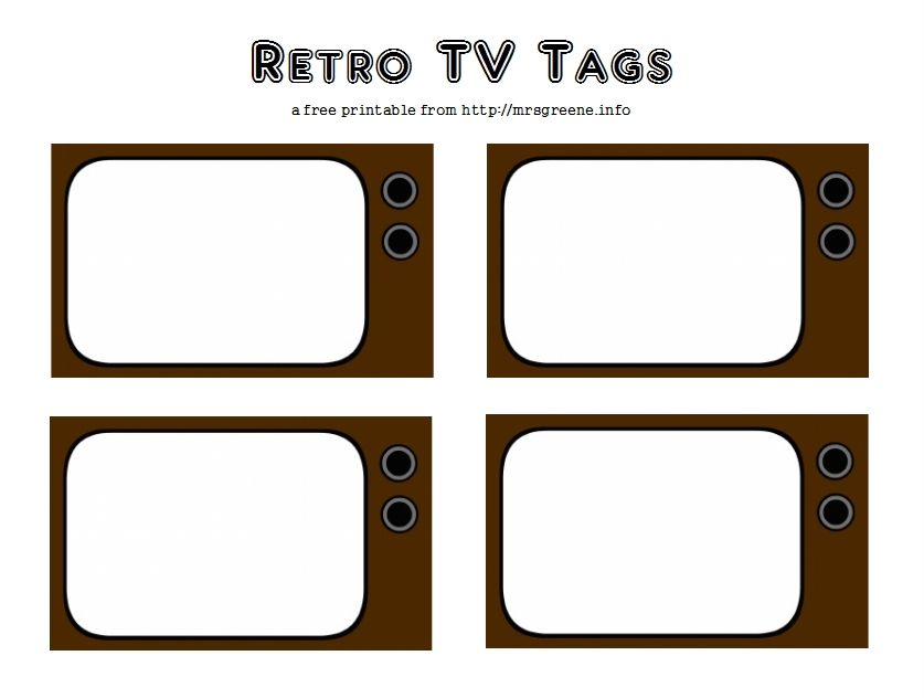 picture about Printable Door Tags titled Absolutely free Printable: Retro Television set Tags (sbook journaling, reward