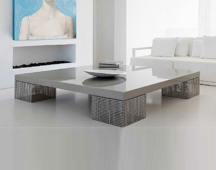 Grey Coffee Table With Square Legs