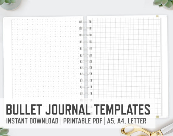Bullet Journal A4 A5 Letter Journaling Templates Pdf Files Dots Lined Graph Paper Notes P