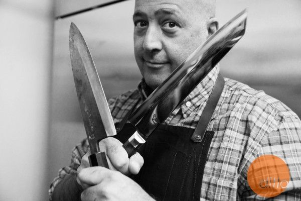 """Bizarre Foods"" host Andrew Zimmern #ditlo photography by Marco Franchina #chef #foodie #knives #blackandwhite"