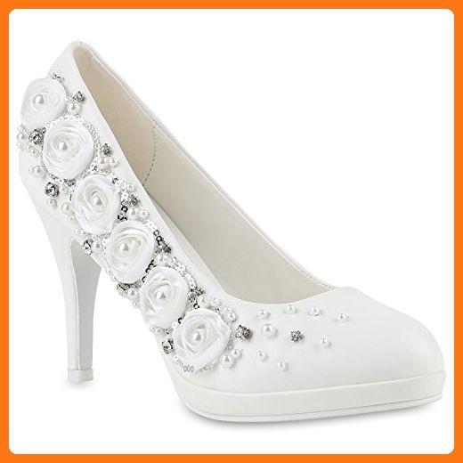 Minitoo , Damen Pumps Weiß White-8cm Heel - Damen pumps