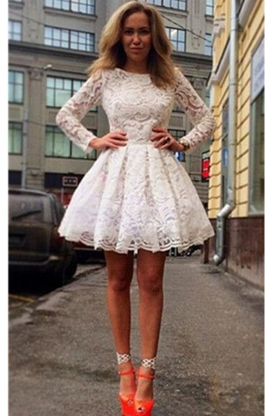 Long Sleeves Lace Homecoming Dresses,Classy Short Prom Dresses ...