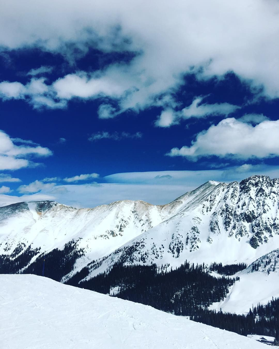 From high atop #Arapahoe Basin on a warm bluebird day with another foot of #snow on the way!