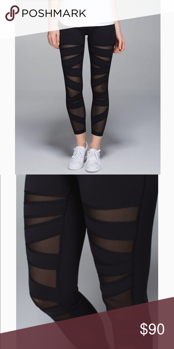 4116bbccd9 Lululemon Black Wunder Under Mesh Cutout Leggings Full length, zig zag mesh  cutout wunder under leggings- Worn a couple of times still in new condition.