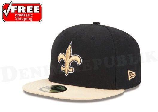 hot sale online 8545e e29ab Era 5950 Orleans Saints Black Team Cap Nfl Fitted Hat Football 2 Tone