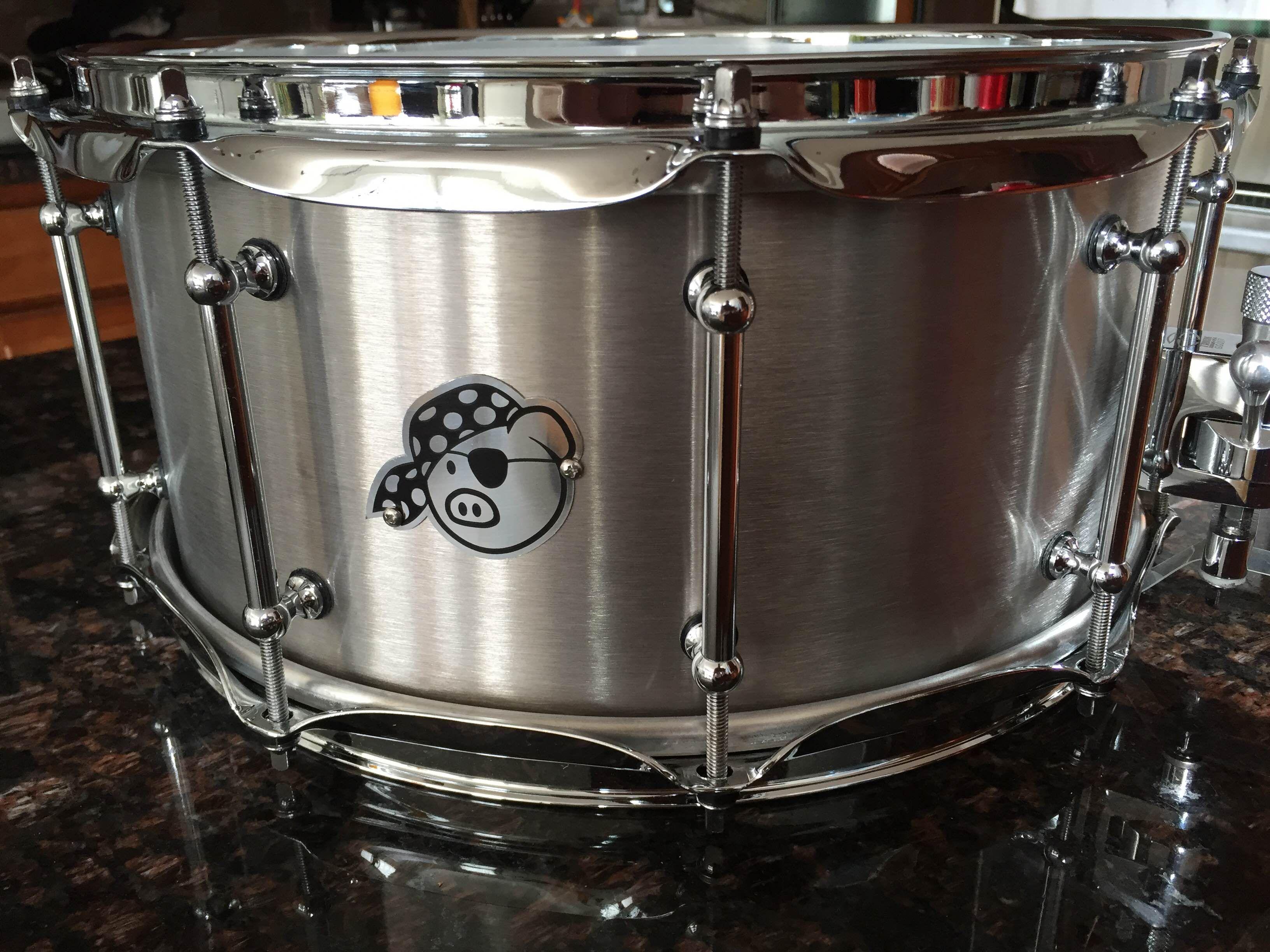 This is a one-off Pork Pie Titanium snare drum built custom for me ...