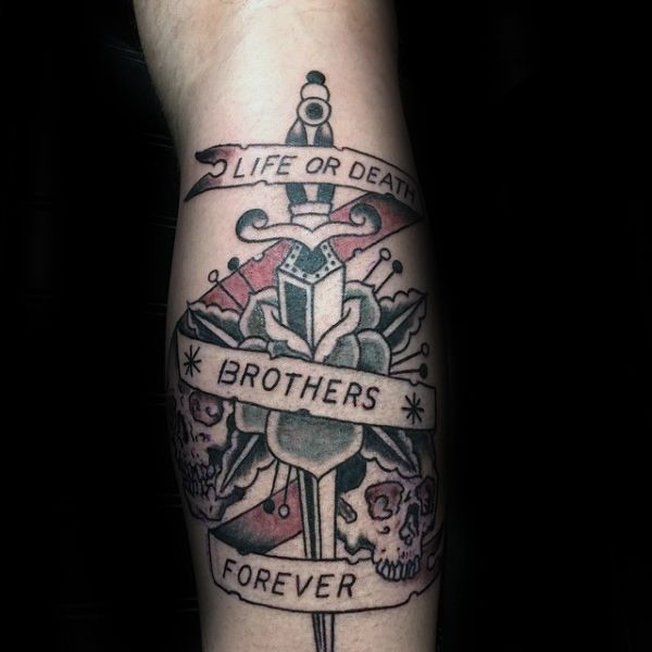 old school dagger life or death brothers forever mens leg tattoos artworks pinterest mens. Black Bedroom Furniture Sets. Home Design Ideas