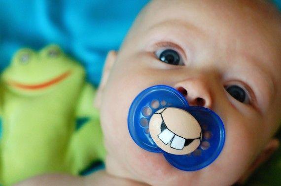 Cute Buck Teeth Custom Hand Painted Pacifier by piquantdesigns, $13.50