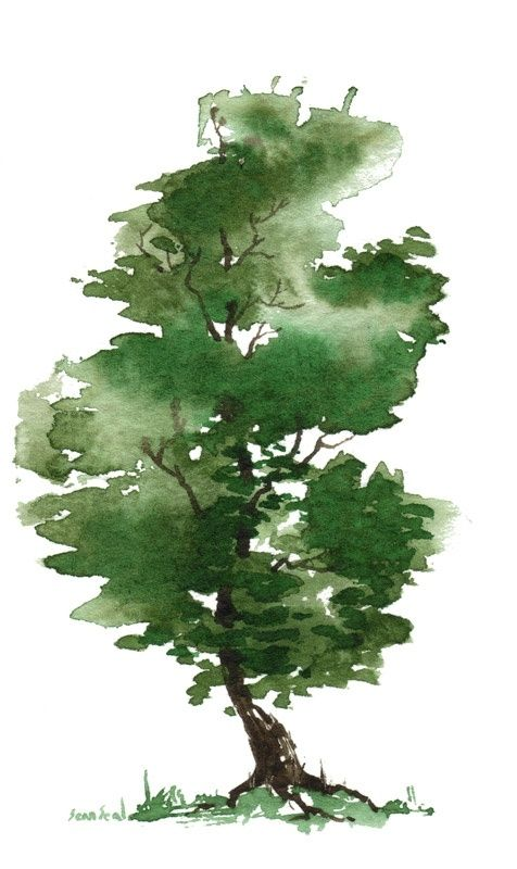 Little Watercolor Trees
