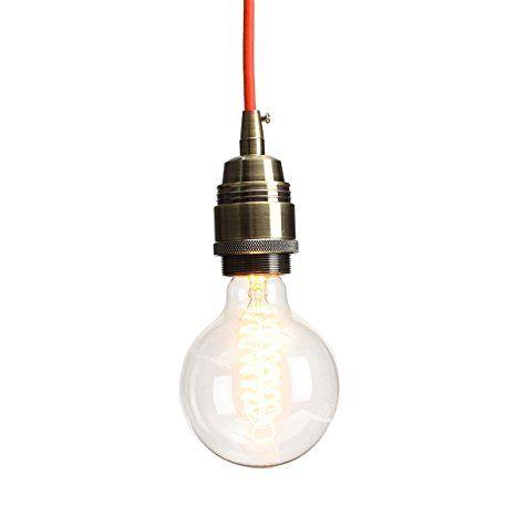 Kingso E27 Edison Lampenfassung Pendelleuchte Hangelampe Halter Diy Lampe Zubehor Im Vintage Stil Mit Farbigen Textilka Hange Lampe Diy Lampen Lampen