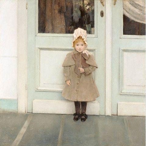 페르낭 크노프 [잔느 키퍼의 초상]    페르낭 크노프는 벨기에 출신의 대표적인 상징주의 화가이다. 신화적 세계와 신비주의적인 색채가 두드러지며 무의식과 내면으로 향한 정조를 표현했다.    그림 속 소녀는 보닛을 쓰고, 커다란 리본이 장식된 코트를 입고, 스타킹을 신고, 리본이 달린 검정 구두를 신었다. 왼손으로 옷을 누르고 있는 모습과 표정에서 소녀의 불안감과 망설임을 엿볼 수 있다.