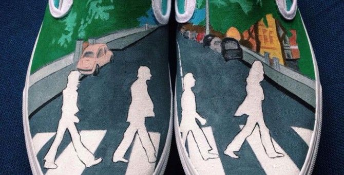 Hand-Painted Shoes With Calvin And Hobbes, The Beatles....