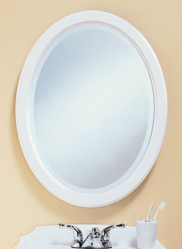 398 – White framed oval mirror has 1″ beveled edge. 23 1/2″ wide, 30 ...