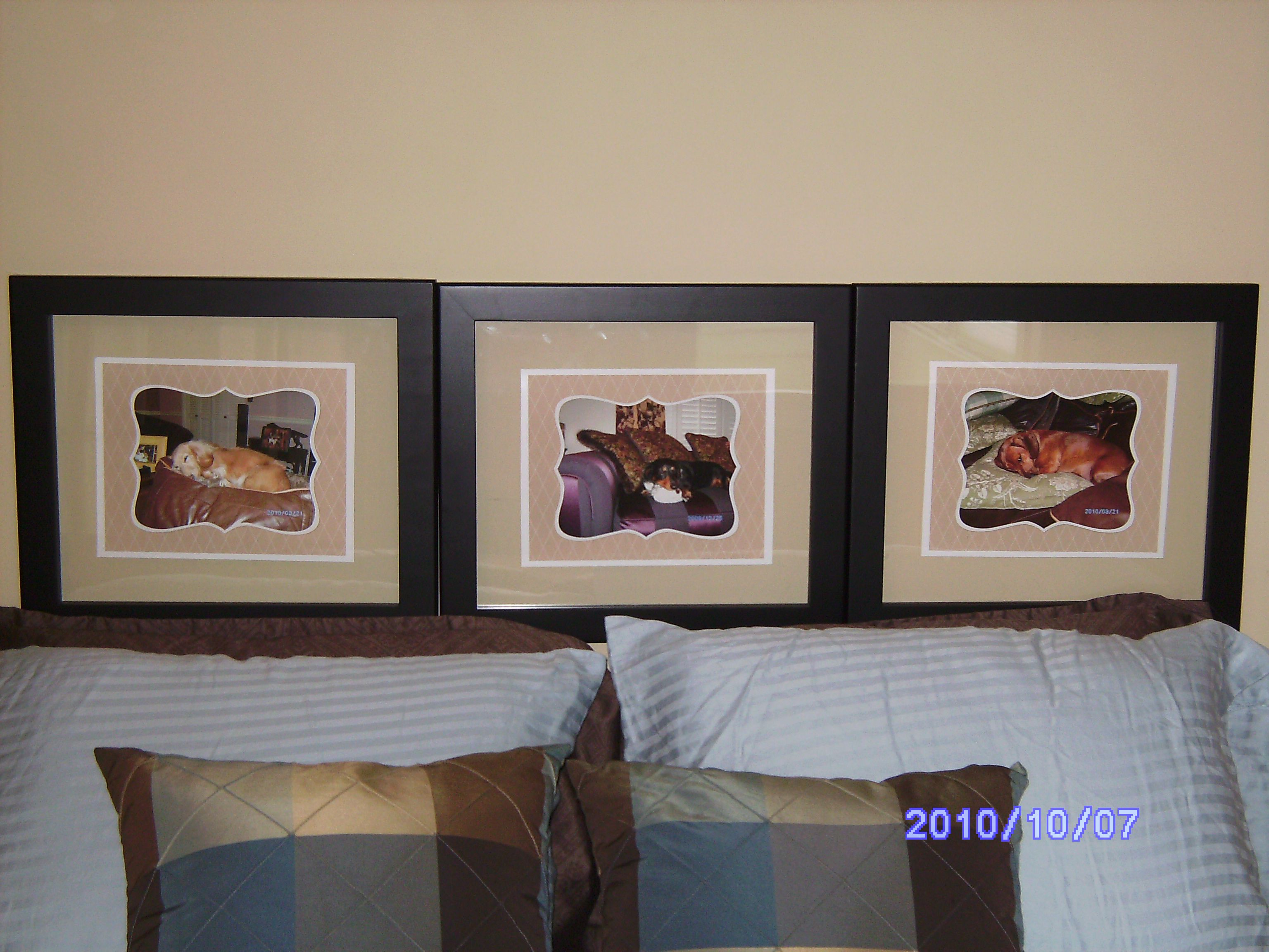 """""""Headboard"""" made by my mom :) with her 3 doxies"""