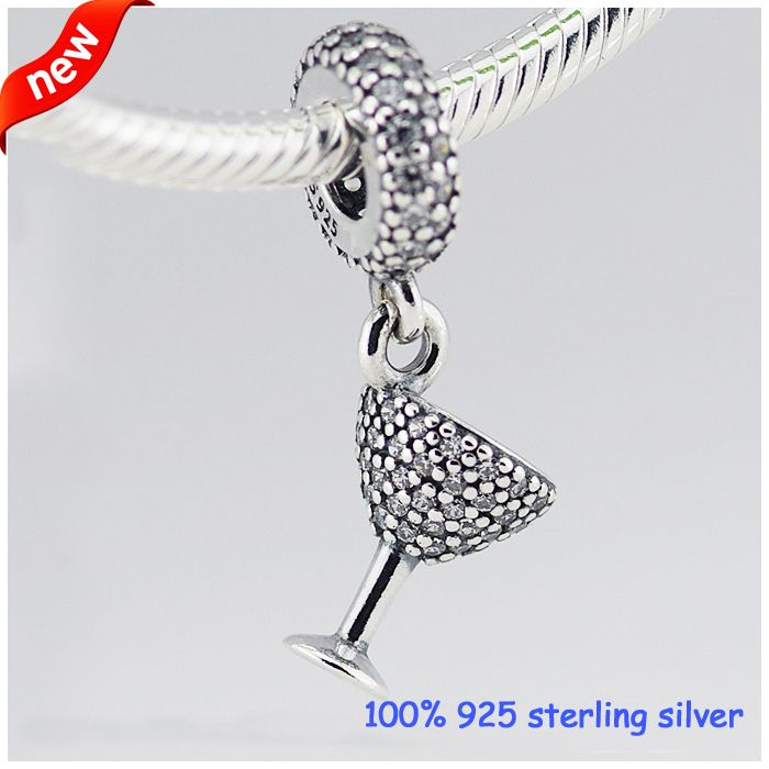 39fda9edd Fits Bracelets Cocktail glass Silver Charms With zirconia Summer Style 925  Sterling Silver Beads DIY Jewelry Wholesale 09218