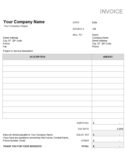 Invoice With Tax Calculation Invoice Template Word Template Invoice Example