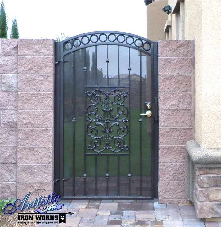 Screened Wrought Iron Single Gate With Images Iron Gates Iron