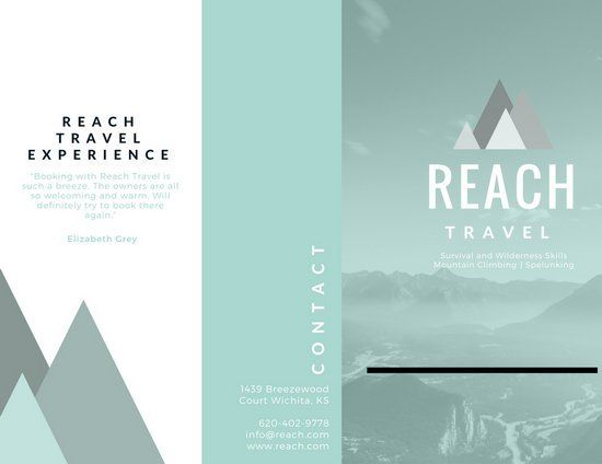 Green Mountain Vector Travel Agency Brochure  TriFold Inspo