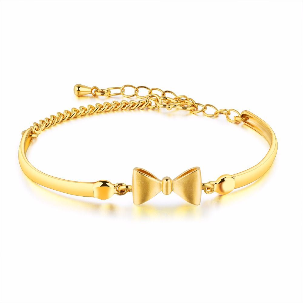 Brand cute bowknot bracelets u bangles for woman girl copper jewelry