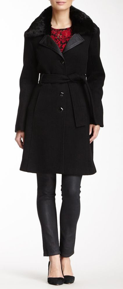 Runway New York Fur Lining Wool Blend Trench Coat