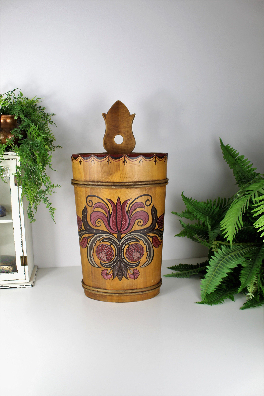 Vintage Swiss Umbrella Stand Folk Boho Painted Wooden Etsy Contemporary Decorative Art Hand