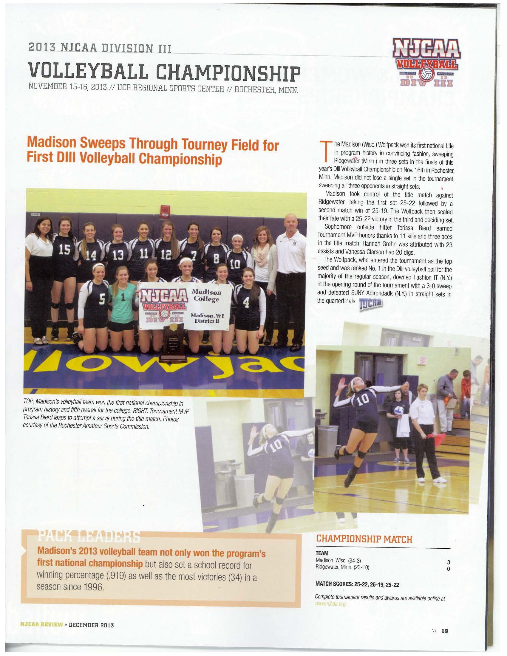 2013 Njcaa Volleyball Champions With Images Volleyball History Volleyball Madison
