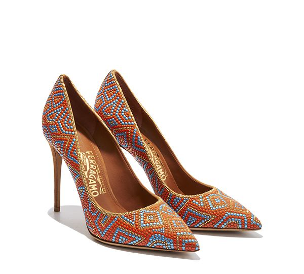 High heel pump featuring geometric mosaic pattern with metallic accents and  gold Ferragamo signature inlaid on