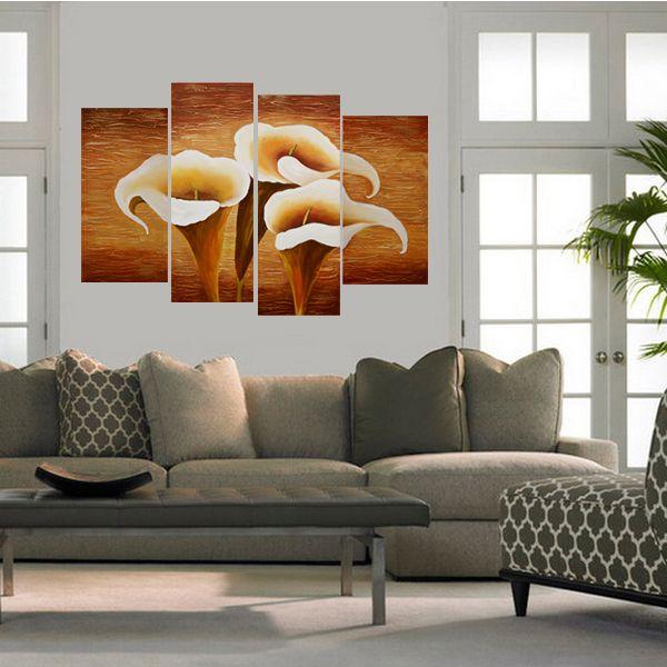Quadri con fiori di giglio di calla dipinti a mano olio su for Fiori dipinti a olio