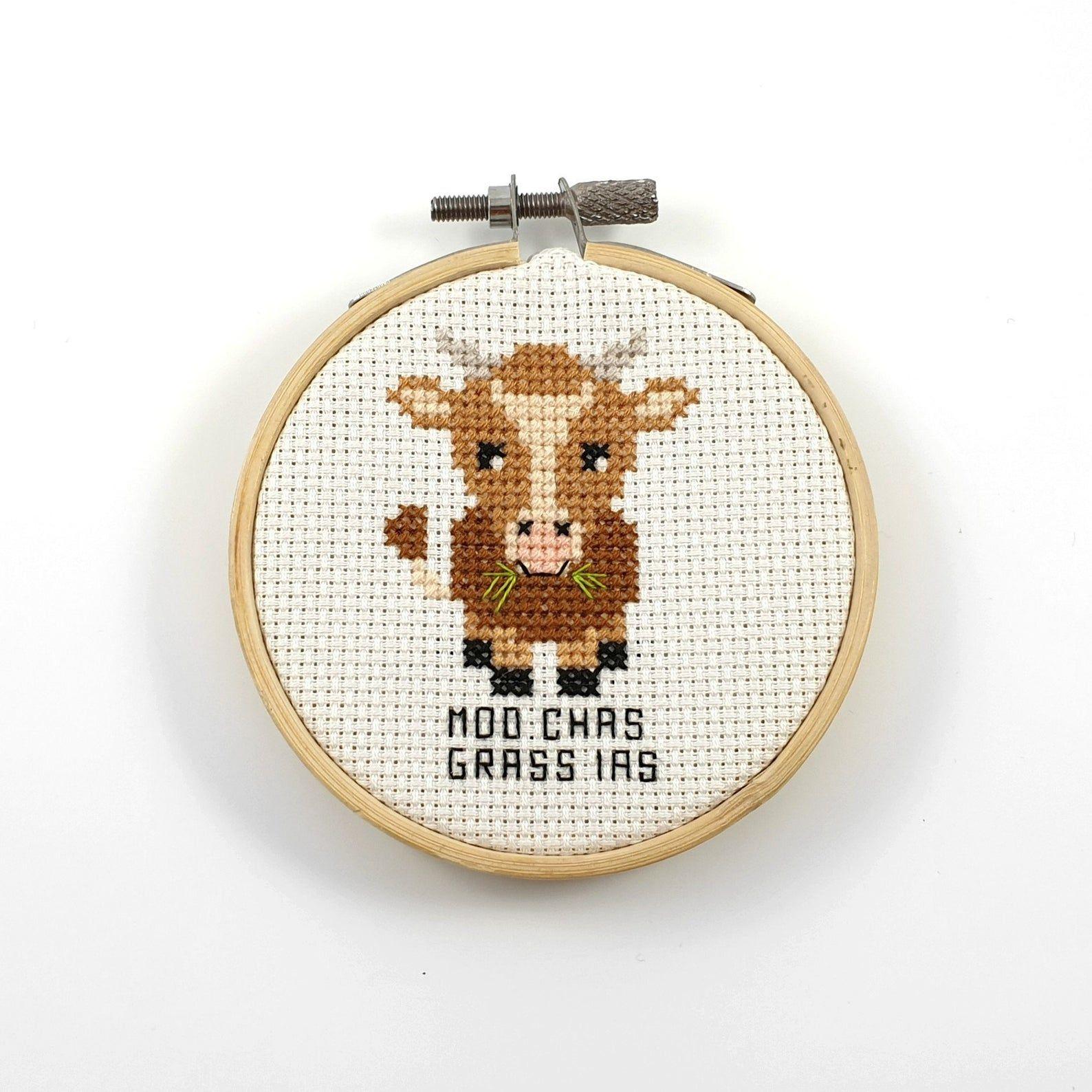 Sweet Cow Amongst Flowers Modern Simple Cute Counted Cross Stitch Pattern PDF File Instant Download Moo Cross Stitch Pattern