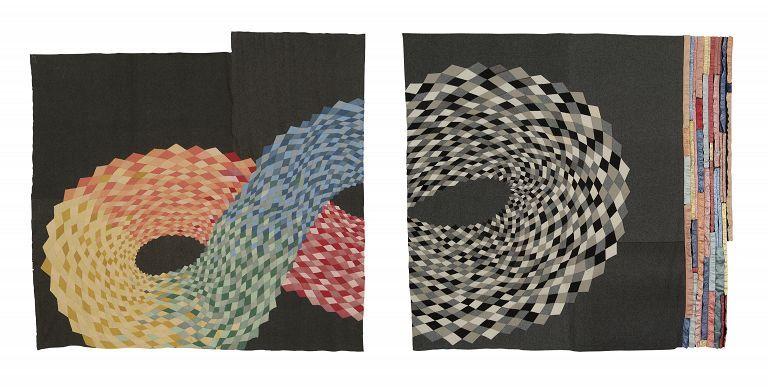 Artwork created by Marie Watt. 259 × 128  mm. Reclaimed wool blankets, satin bindings, thread. .