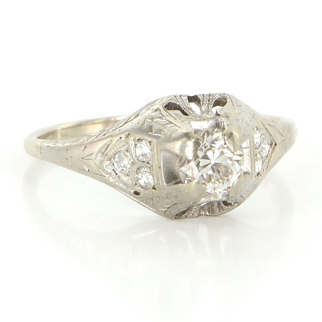 Antique art deco karat white gold diamond engagement right hand