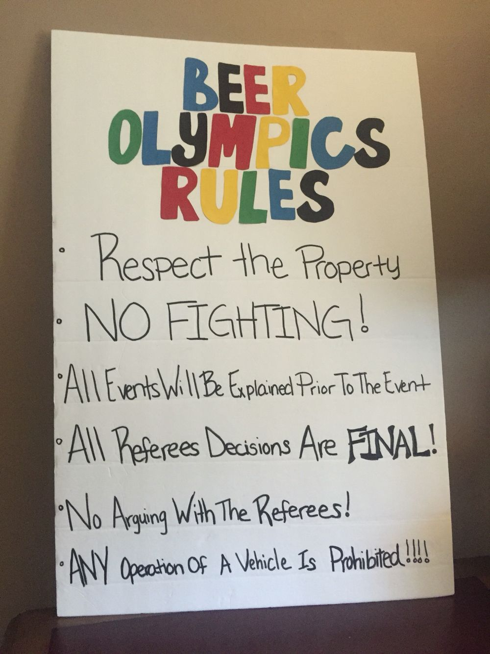 Have a visual reminder for participants … Beer olympic