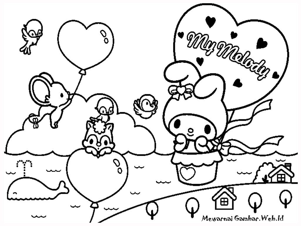 My Melody Free Printable Kids Coloring Pages With Images Cute