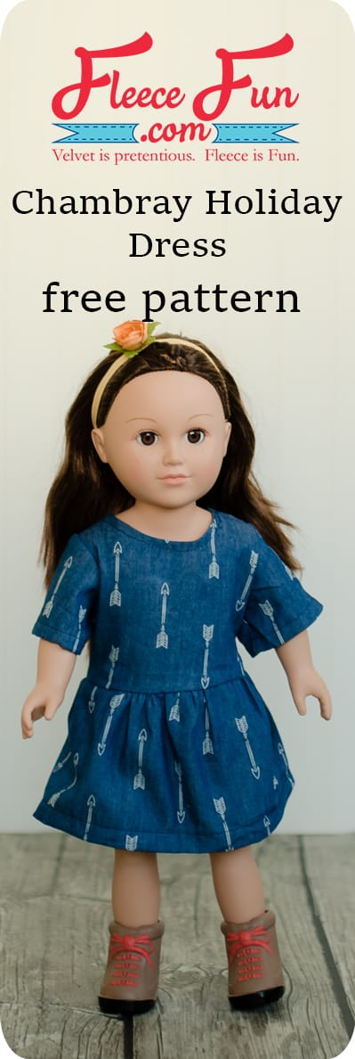 Chambray Party Dress for 18 Doll Free Pattern ♥ Fleece Fun #dolldresspatterns