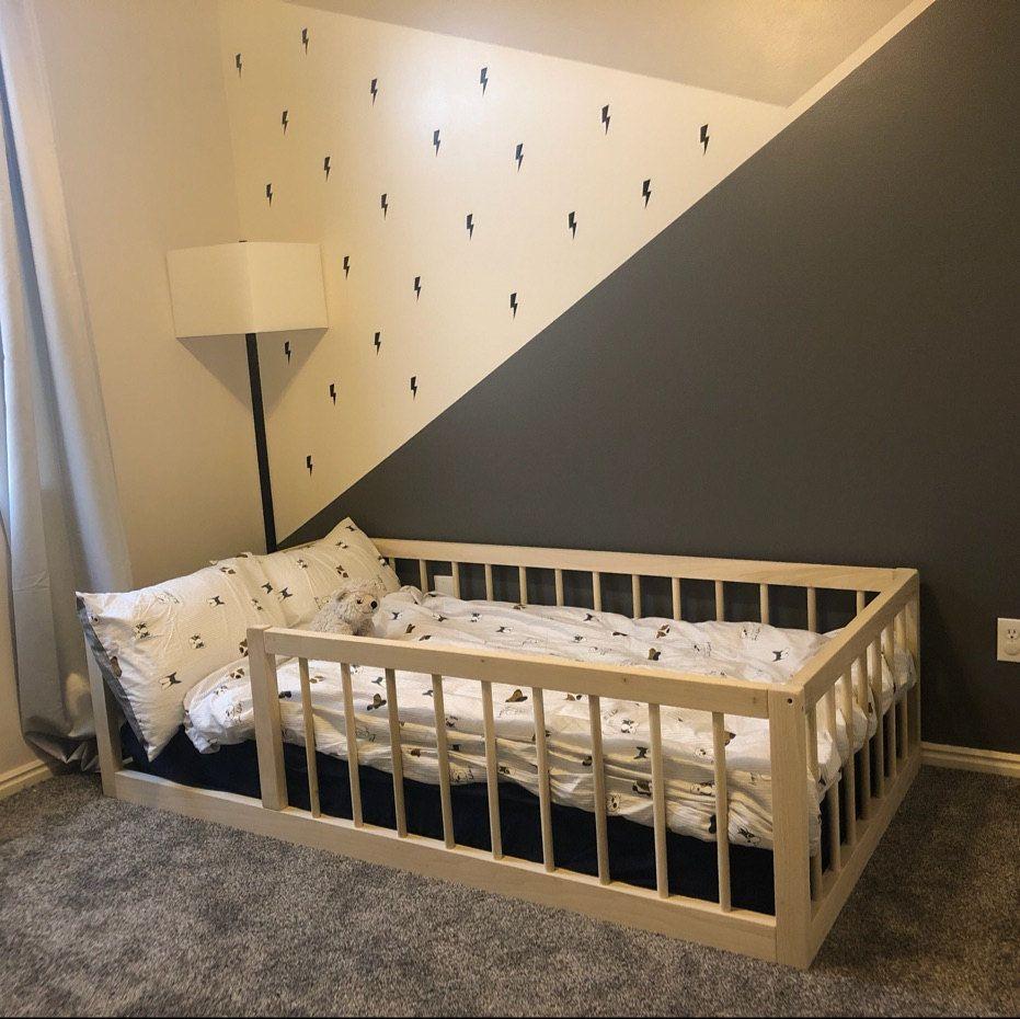 Montessori Floor Bed With Rails & slats Twin Size Diy