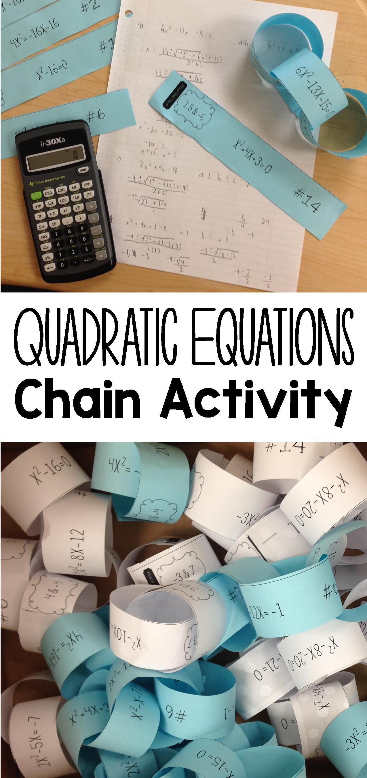 solving quadratic equations paper chain activity | math class