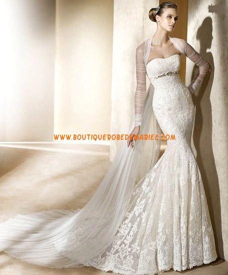 Robe de mariée sirène dentelle crystaux avec manteau de voile