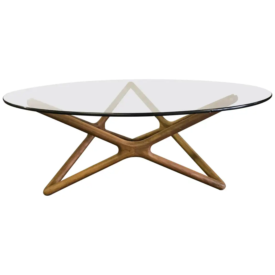 Danish Sculptural Teak And Round Glass Coffee Cocktail Table Modern Glass Coffee Table Scandinavian Coffee Table Round Wood Coffee Table [ 960 x 960 Pixel ]