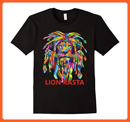 Mens Reggae Rasta Lion Dreadlocks Tshirt Gifts for Men Large Black - Animal shirts (*Partner-Link)