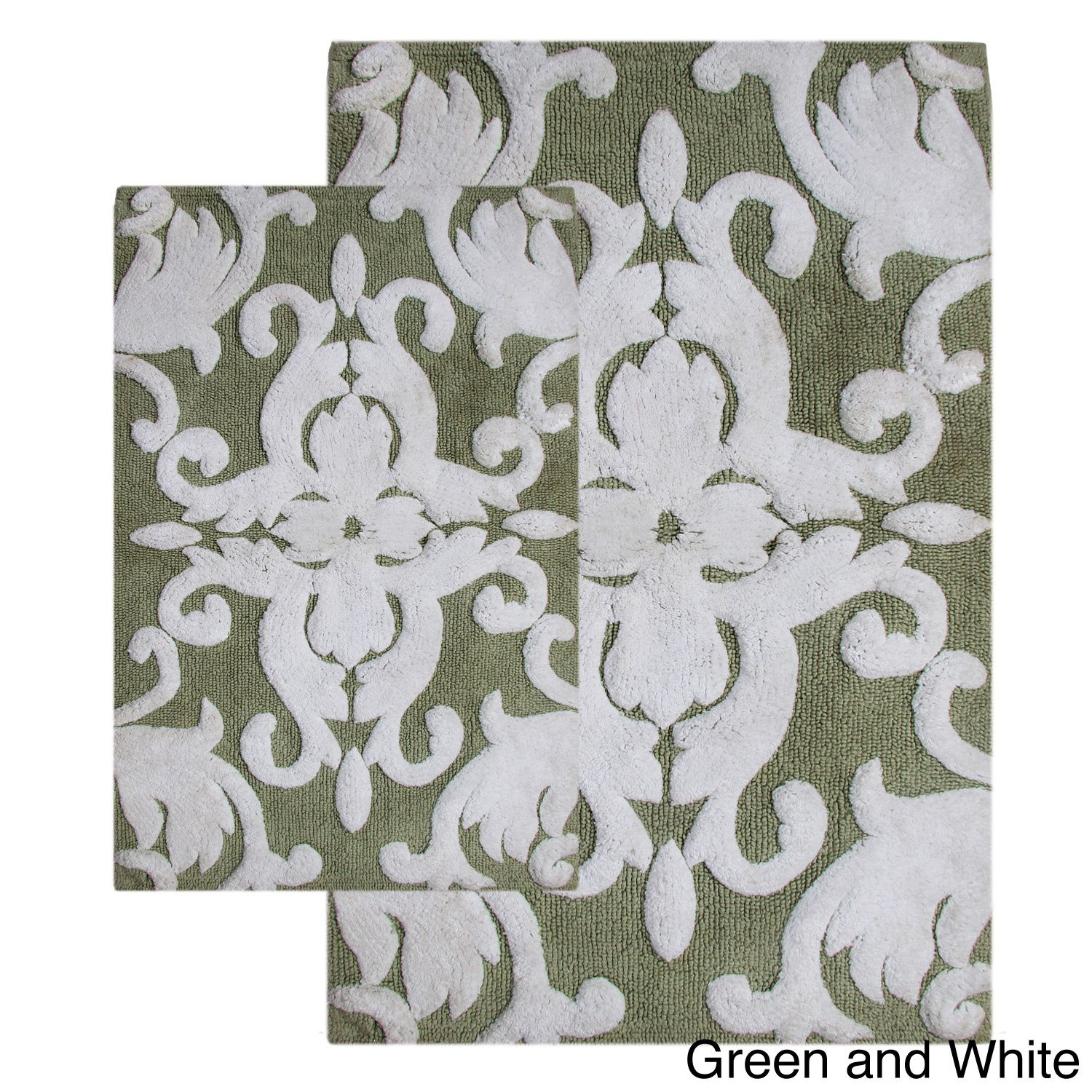 This two-piece bath rug set with a beautiful scrolled design enriches any space with distinctive style. Bathroom decor takes an elegant tone, while plush fabric cushions feet in pure comfort with a water-absorbent construction.