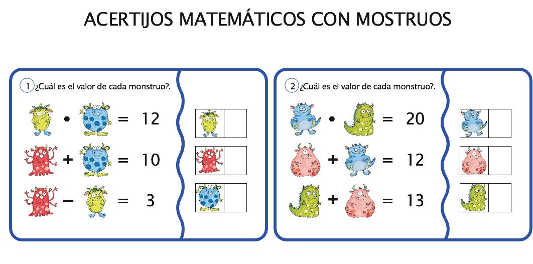 ACERTIJOS MATEMÁTICOS CALCULA EL VALOR DE CADA MONSTRUO ...