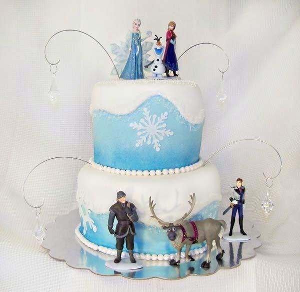 Frozen Tiered Cake with Trolls and Snowman movie Frozen