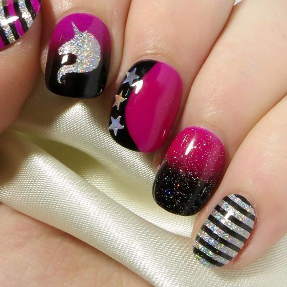 Nail Art Glue On Nails - Hand Painted Press On Nails - Glitter Fake ...