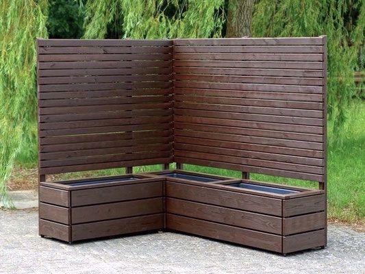 Pflanzkasten Holz Ecke mit Sichtschutz, Länge 212 cm